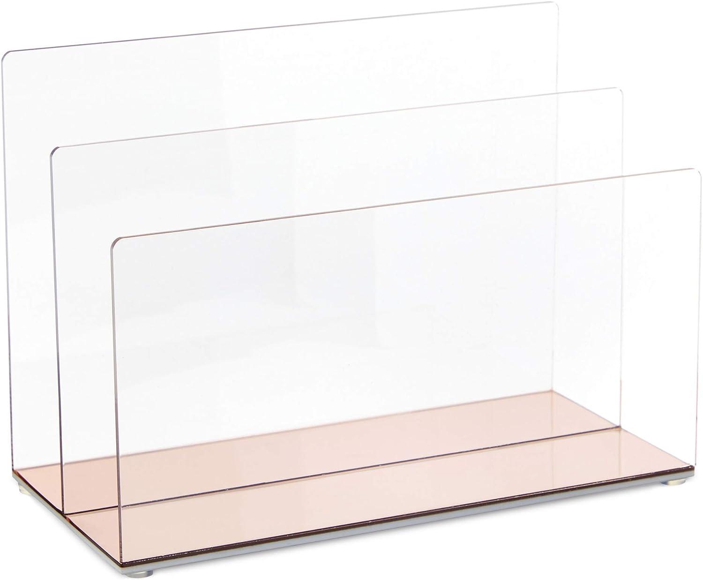 Rose Gold 3-Slot Acrylic File Holder with Rounded Edges