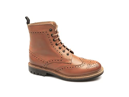 5a1f0448 CATESBY SHOEMAKERS Windsor Welted Leather Derby Boots Tan UK 10: Amazon.co. uk: Shoes & Bags
