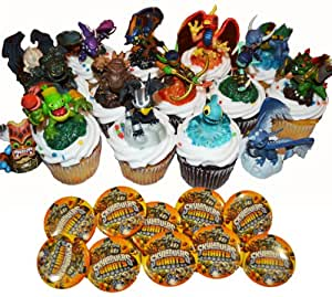 Skylanders Giants B Birthday Party Set - 15 Cake / Cupcake Topper / Favors - 12 Buttons
