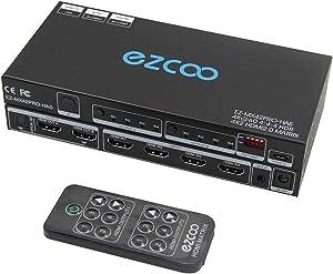 HDMI Matrix 4 in 2 Out 4K 60Hz 4:4:4 HDR Vision Atmos 18Gbps SPDIF 5.1CH - PC Console 16 EDID, D Vision D Atmos Sync, HDMI Scaler 4K 1080P Sync, HDCP2.2 HDMI2.0 Matrix 4x2 IR Remote, IR Ext. MX42PRO