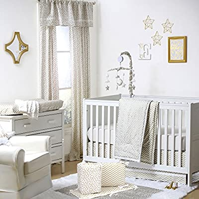 Gold Dot and Chevron 5 Piece Baby Crib Bedding with Bumper by The Peanut Shell