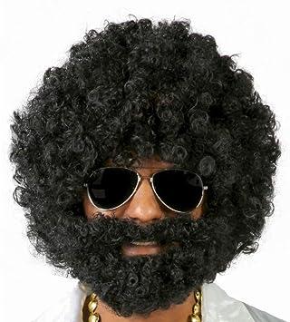 FIESTAS GUIRCA Peluca Afro Con Barba Negra