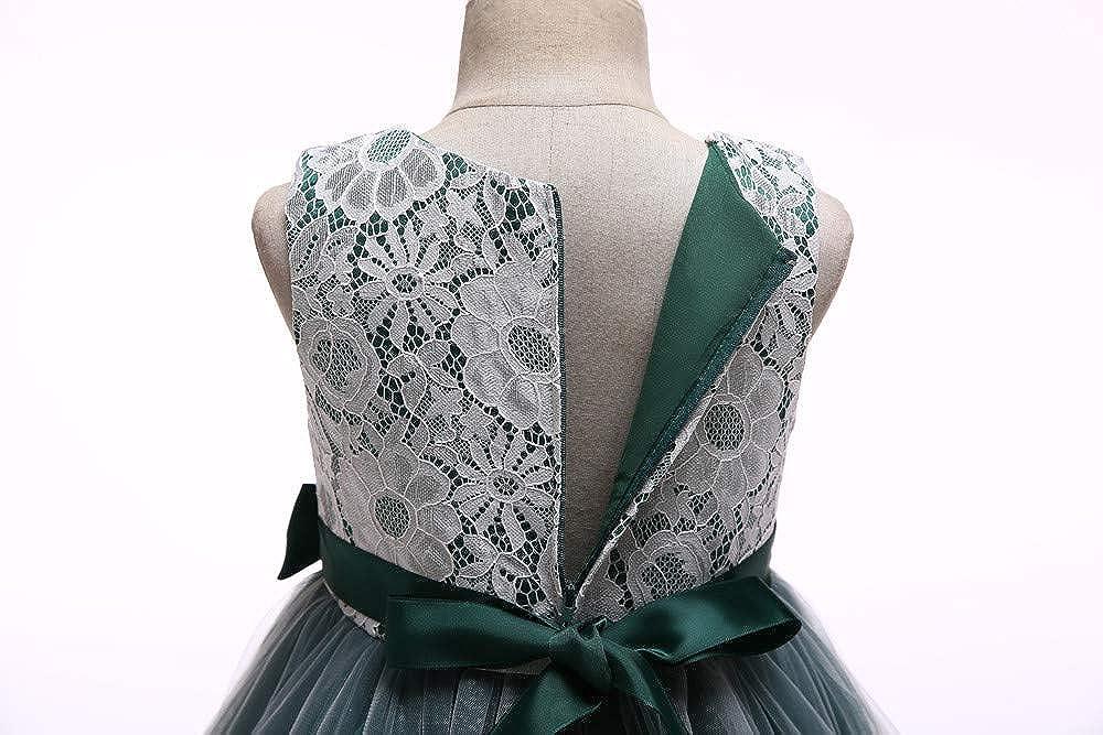 Suma-ma Child Girls Lace Bowknot Princess Dress Wedding Performance Formal Tutu Skirts Clothes