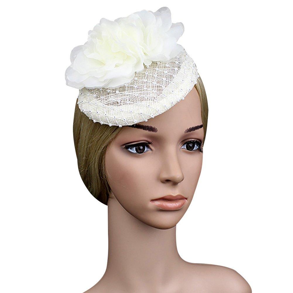 Ztl Bridal Wedding Fascinator Headband Lady Crystal Flower Net Veil Derby Hat