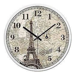 Multi-Clocks Wall Alarm Clock Clocks European Style Living Room Paris Tower Mute Simple Modern Round Black pin White Frame 12in(30.5cm)