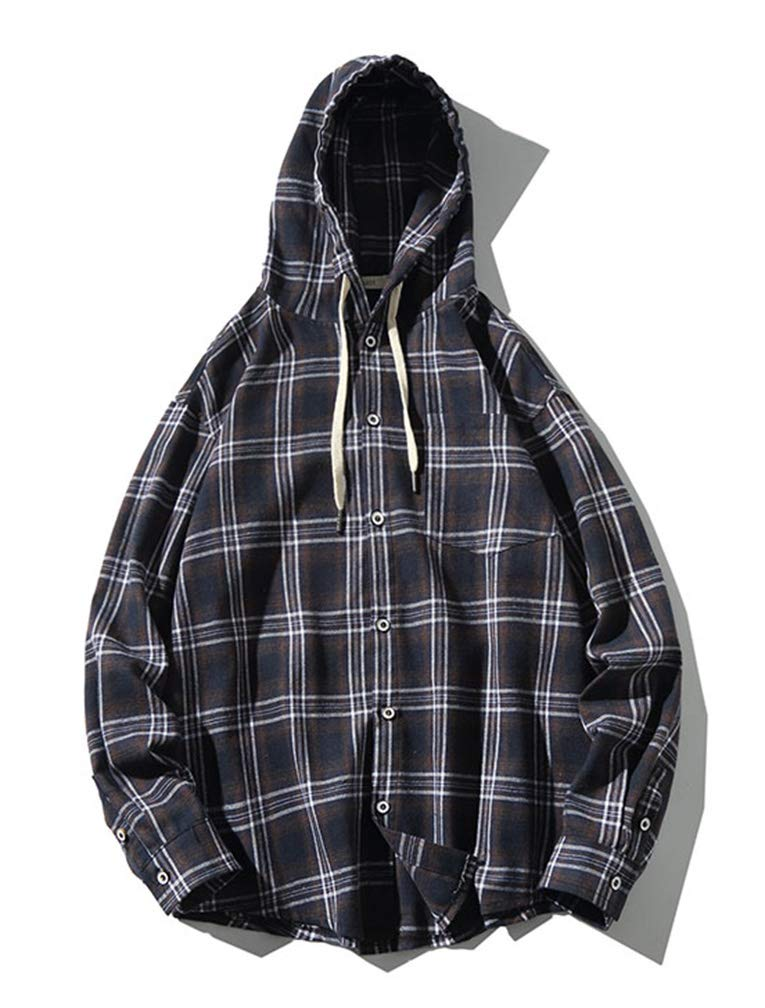 Lavnis Men's Plaid Hooded Shirts Casual Long Sleeve Lightweight Shirt Jackets (S, Style 2 Blue) by Lavnis