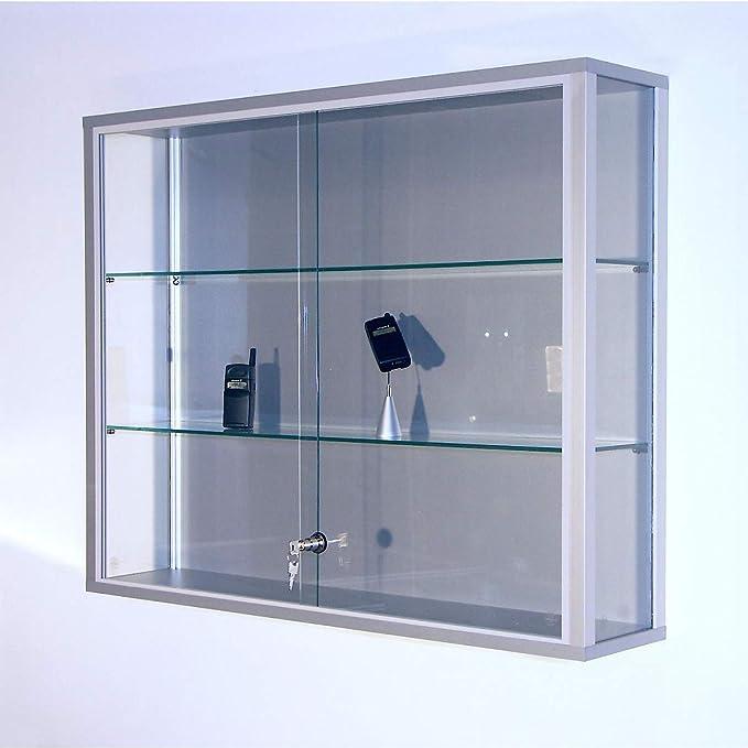 Pared vitrina, Alto 1000 x 200 x 800 mm, perfiles de aluminio, 2 estantes de cristal, puertas correderas, cerradura de cilindro: Amazon.es: Oficina y papelería