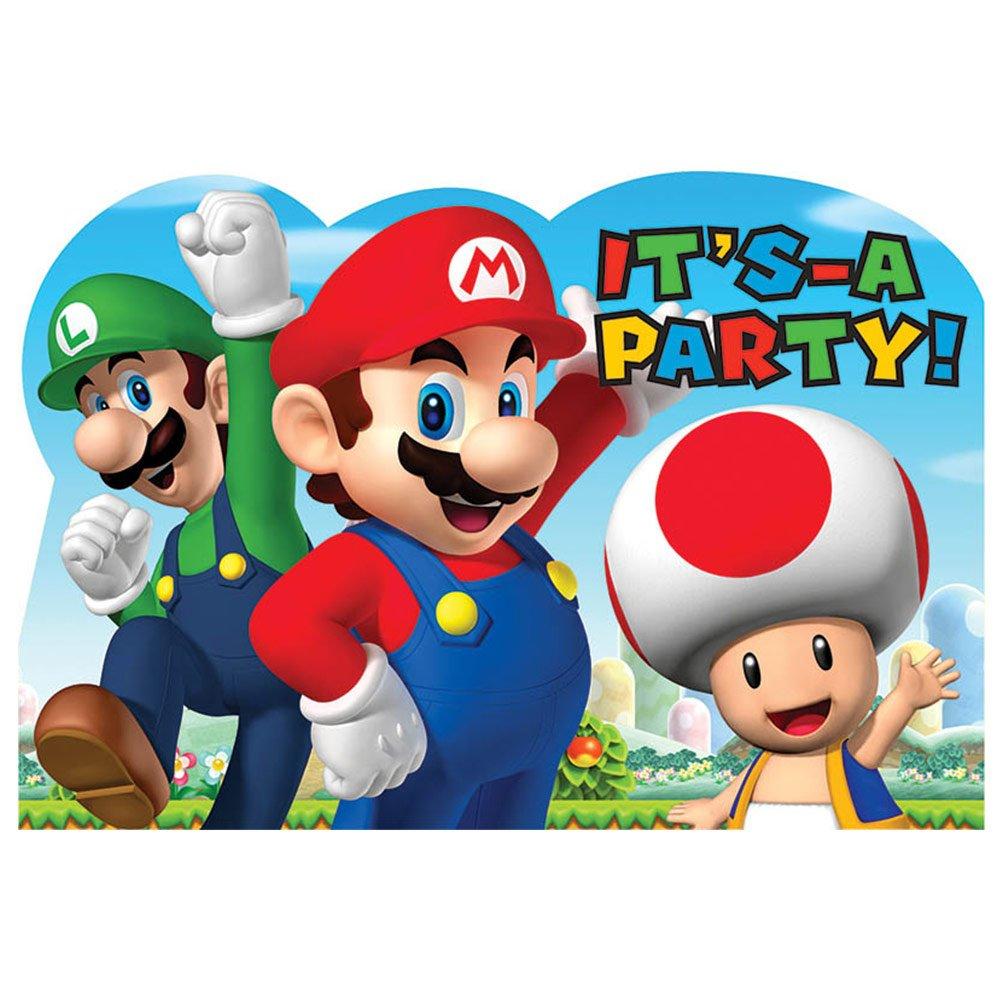 Super Mario Invitations and Envelopes,8 postcard invitations, 8 envelopes, 8 ... amscan 491554AMS-INV