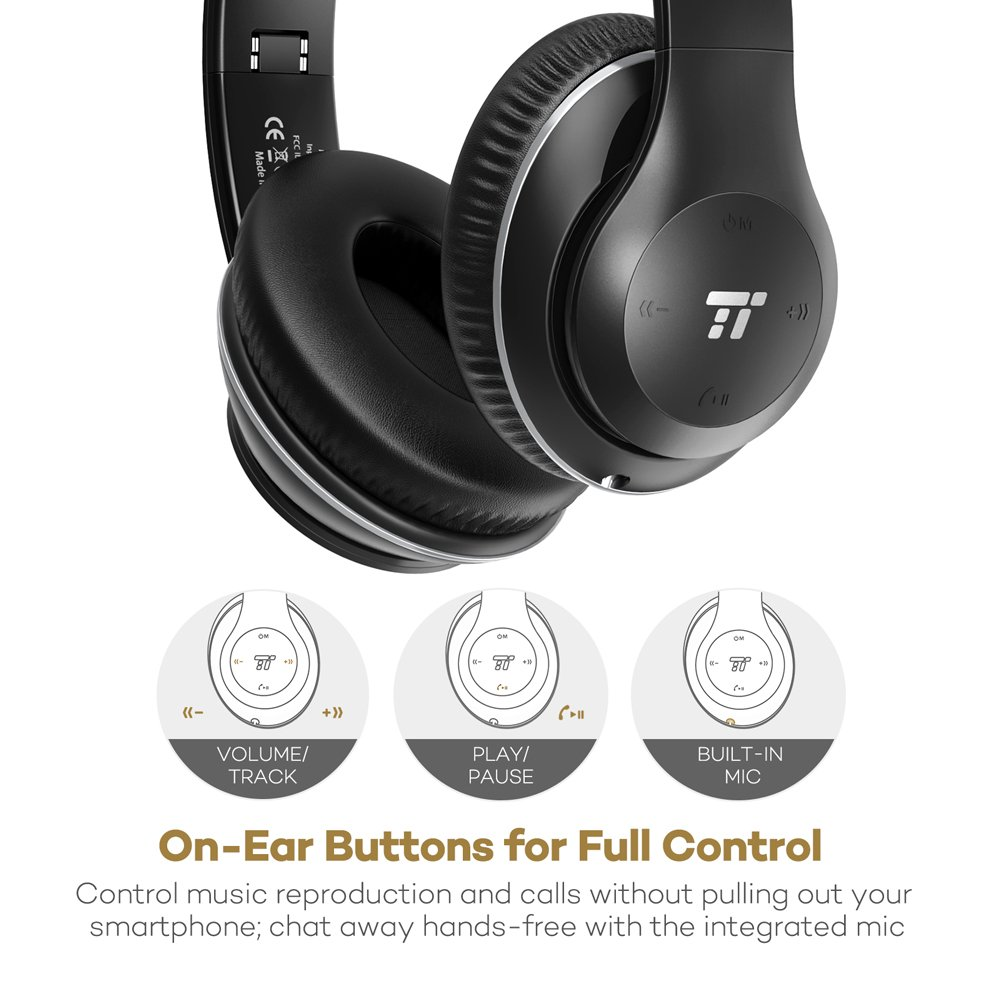 TaoTronics Over Ear Wireless Headset Headphones with Dual 40mm Drivers, 3.5mm AUX, On Ear Controls, EQ Bass by TaoTronics (Image #5)