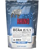 Hard Rhino BCAA 2:1:1 Instantized Powder, 500 Grams (1.1 Lbs), Unflavored, Lab-Tested, Scoop Included