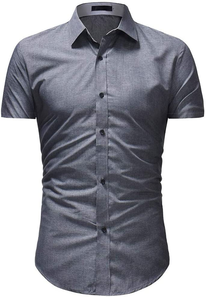 NSSY Camisa de Hombre Hombres de la Marca Camisa Slim Fit Regular Playa Verano Tallas Grandes Camisa de Manga Corta Tops Ropa Rockabilly gótico Sólido Hawaiano, 4XL: Amazon.es: Hogar