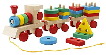 Babygreen Tren Madera Colores Juguetes Rompecabezas Formas