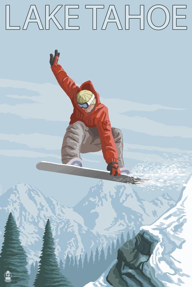 Lake Tahoe, California - Snowboarder Jumping (12x18 Art Print, Wall Decor Travel Poster) by Lantern Press