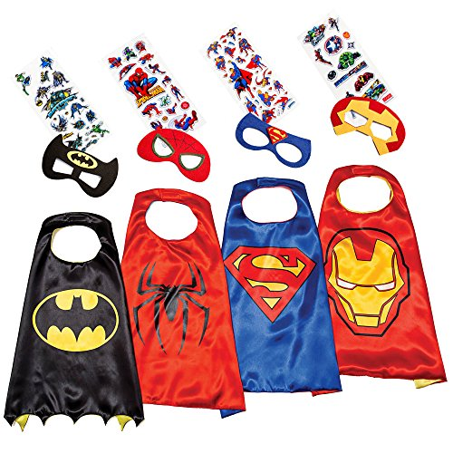 [Superhero Costumes for Kids - 4 Capes and Masks Toys for Boys Girls - Glow Logo] (Party City Toddler Girl Halloween Costumes)