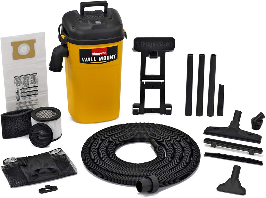 Shop-Vac 3942300 5 gallon 4.0 Peak HP Wall Mount Wet Dry Vacuum Yellow Black Hands-Free Vacuum