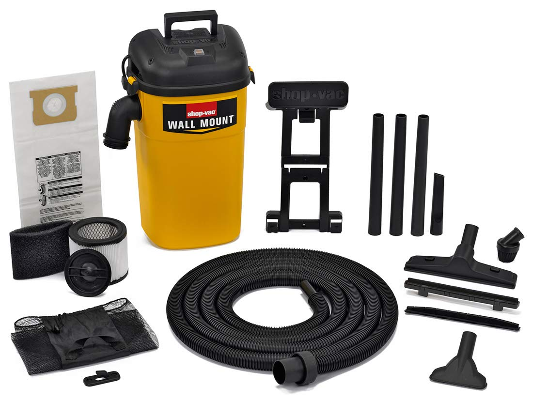 Shop-Vac 3942300 5 gallon 4.0 Peak HP Wall Mount Wet Dry Vacuum Yellow Black Hands-Free Vacuum with Accessories Type AA Cartridge Filter Type CC Foam Sleeve Type O Filter Bag