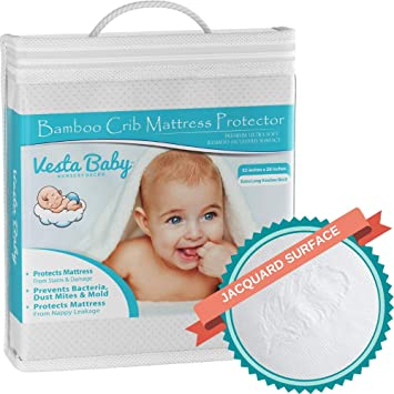 Toddler Mattress Cover Waterproof Fitted Crib Pad Cover For Baby Girls Boys