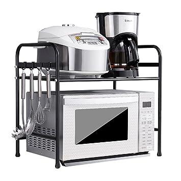 Storage rack. Estantes de Cocina: Rejillas para hornos de microondas, Rejillas de Horno montadas en la Pared, Soportes de Carga (Color : Black, Tamaño ...
