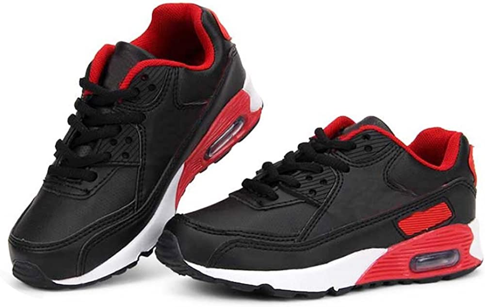 2.5 Little Kid, Black//Red Daclay Kids Breathable Sports Shoes Boys and Girls Sneakers Casual Soft Soled Basketball Running Shoes