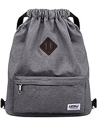 Drawstring Sports Backpack Lightweight Gym Yoga Sackpack Shoulder Rucksack for Men and Women-Dark Grey