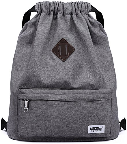Drawstring Sports Backpack Lightweight Gym Yoga Sackpack Shoulder Rucksack for Men and Women-Dark Grey -