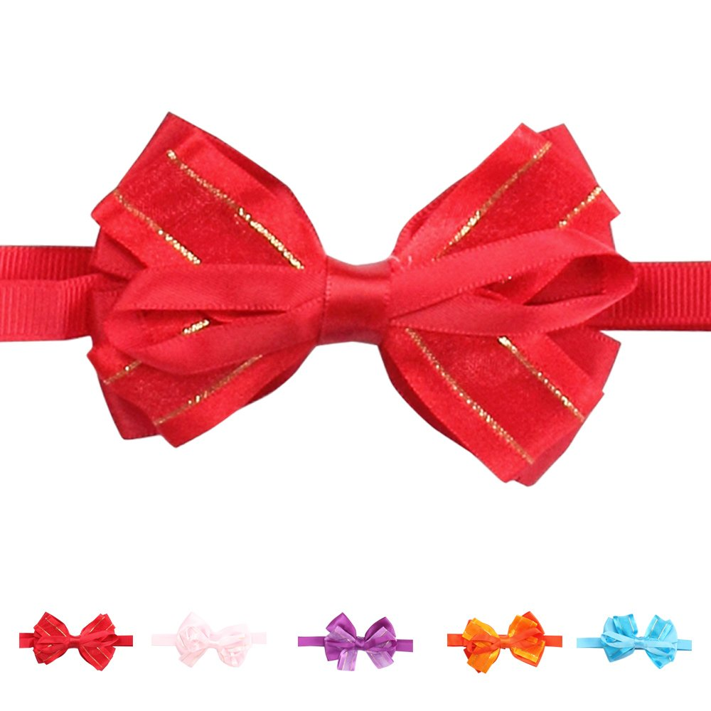 60PCs Dog Charm Collars Adjustable Polyester Necklaces Detachable Bow Tie for Small Dog (Bow) armi