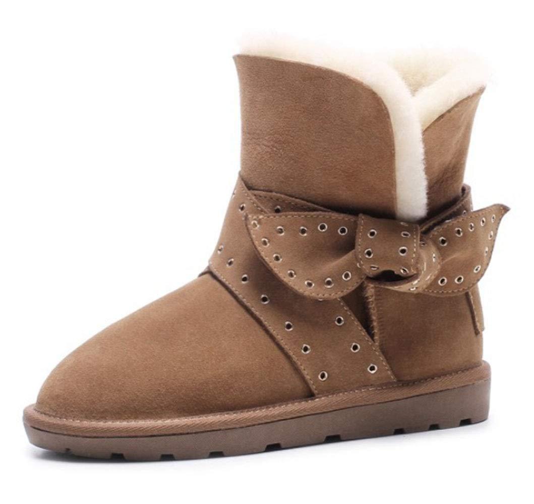 marron 34EU HRN Bottes de Neige pour Femmes Chaudes et Plates avec des Bottines en Cuir et des Chaussures en Coton décoratives