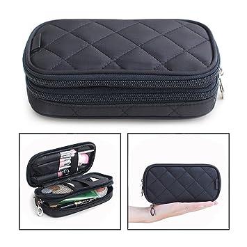 OFKPO Estuche para Maquillaje para Mujer, Organizador de Viaje con 2 Compartimentos, Funda de Viaje para Cosméticos Joyería/Labial/Cepillo de Sombra ...