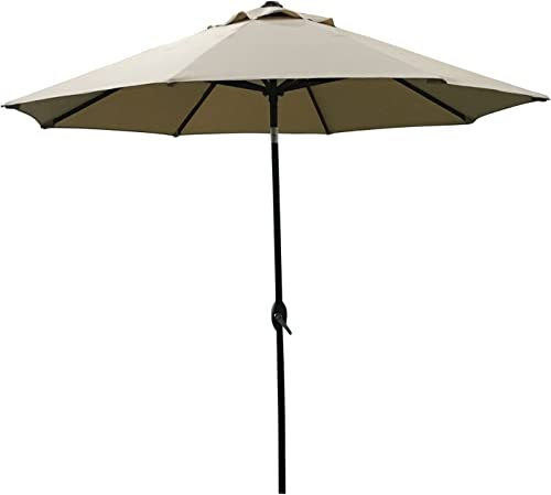 ABO Gear 9-Feet Outdoor Aluminum Patio Umbrella with Auto Tilt and Crank, 8 Ribs, Polyester, Beige