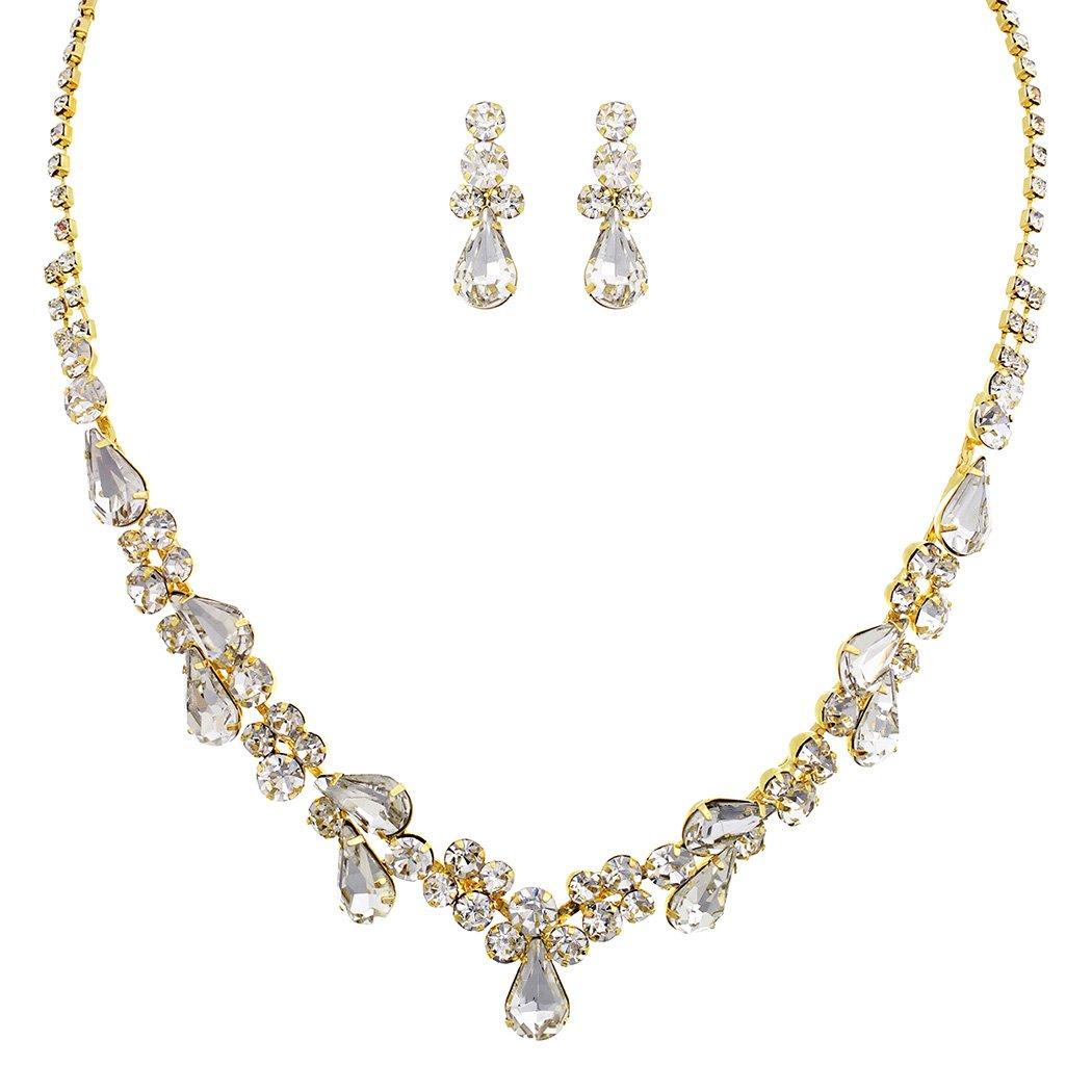 Rosemarie Collections Women's Rhinestone Teardrop Statement Necklace Drop Earrings Set (Gold Tone/Clear)
