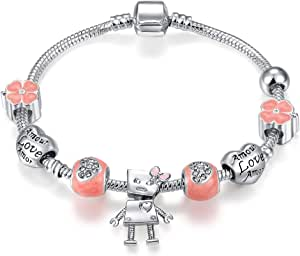 Qings Fashion Silver-Plated Bracelet with the Perfect Gift of Pink Crystal, Robot, Heart Love and Clover for Girls and Daughters (18cm)