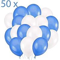 50 Globos Azul Blanco Brilante de 36 cm.