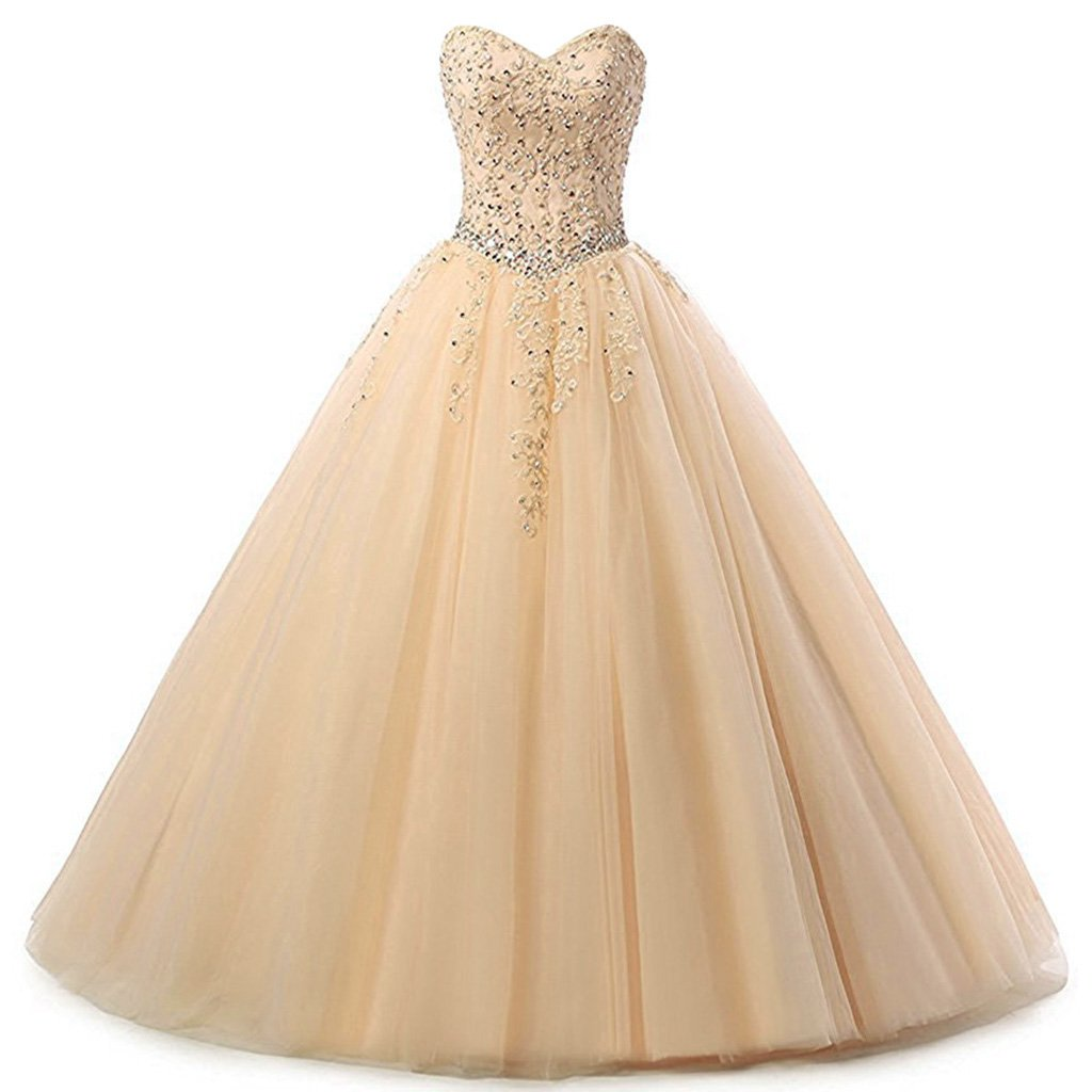 Champagne Vantexi Women's Sweetheart Tulle Prom Ball Gown Quinceanera Dresses