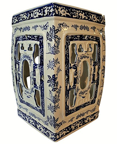 18''H Oriental Porcelain Garden Stool with Blue and White Chrysanthemums