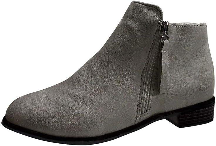 manadlian Bottes Femme Hiver Bottines en Cuir Boots A Talon