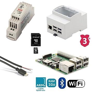 Kit de iniciación Raspberry 3B Rail DIN (alimentación, caja ...