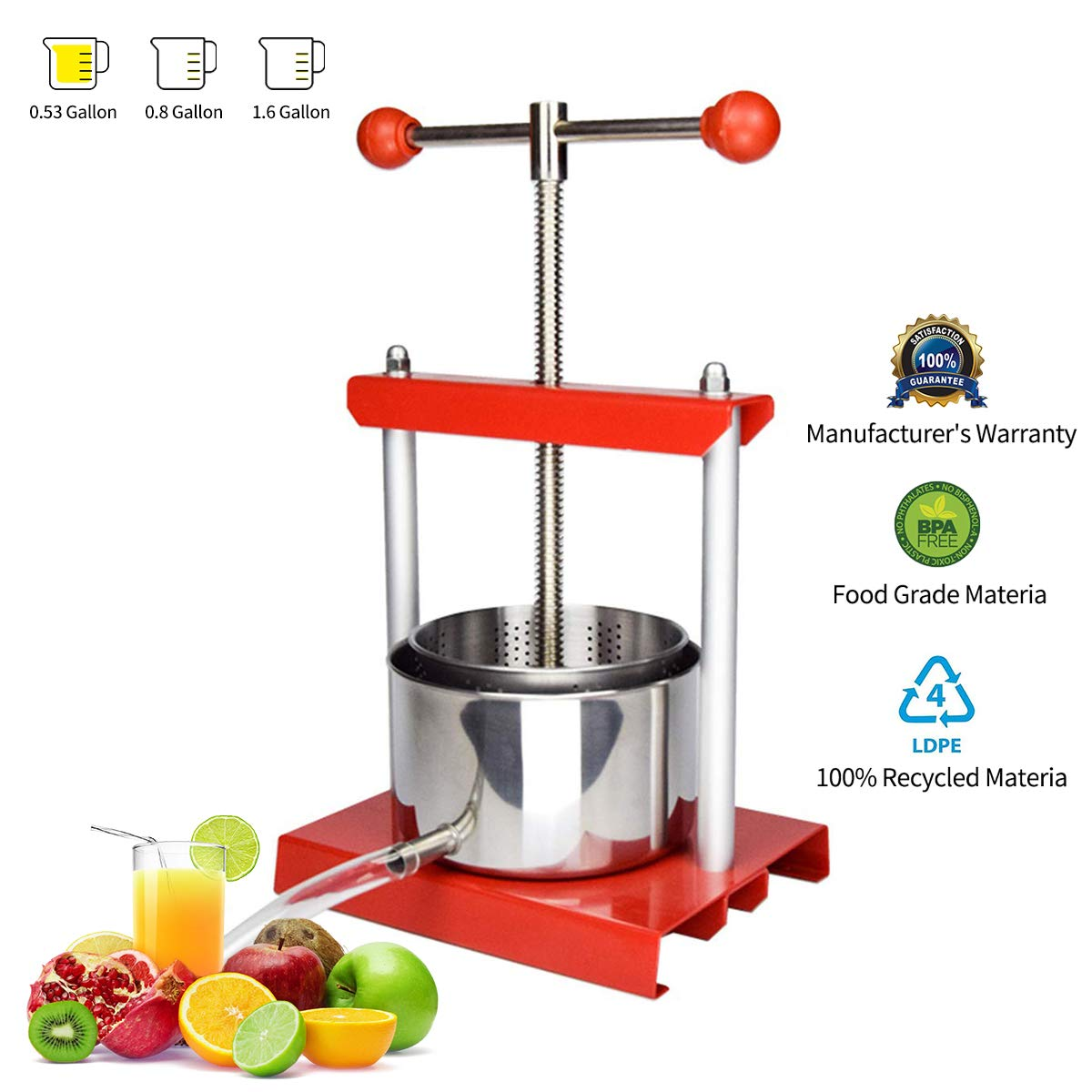 0.53 Gal Fruit Wine Press - 100% Natural Juice Making for Apple/Carrot/Orange/Berry/Vegetables,Food-Grade Stainless Steel Cheese&Tincture&Herbal Press by EJWOX