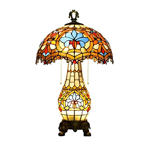 MX Lámpara de Mesa barroca de Tiffany-20 Pulgadas artesanales de ...