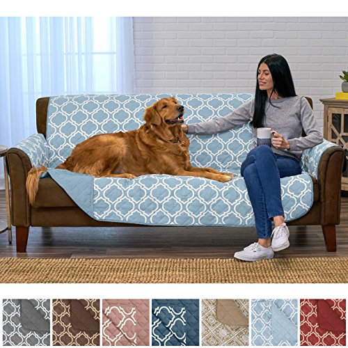 home fashion designs adalyn collection deluxe reversible quilted furniture protector. beautiful print on one side/solid color on the other for two fresh looks. by brand. (sofa/couch, marine blue)