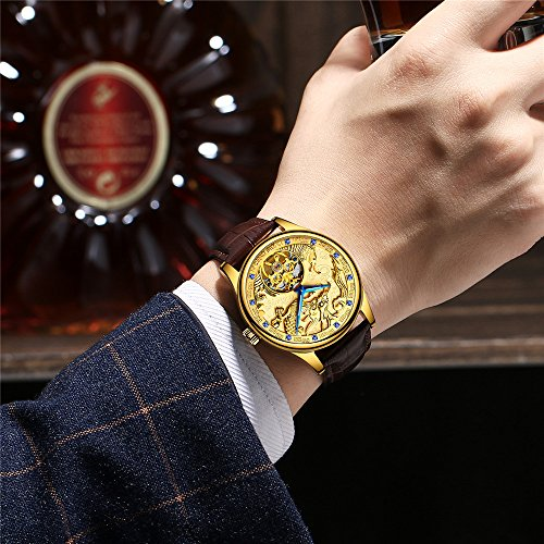 AILANG 3D Animal Skeleton Self Winding Automatic Sapphire AL-6826 Men Brown Leather Tourbillon Mechanical Watches (Gold / Dragon)
