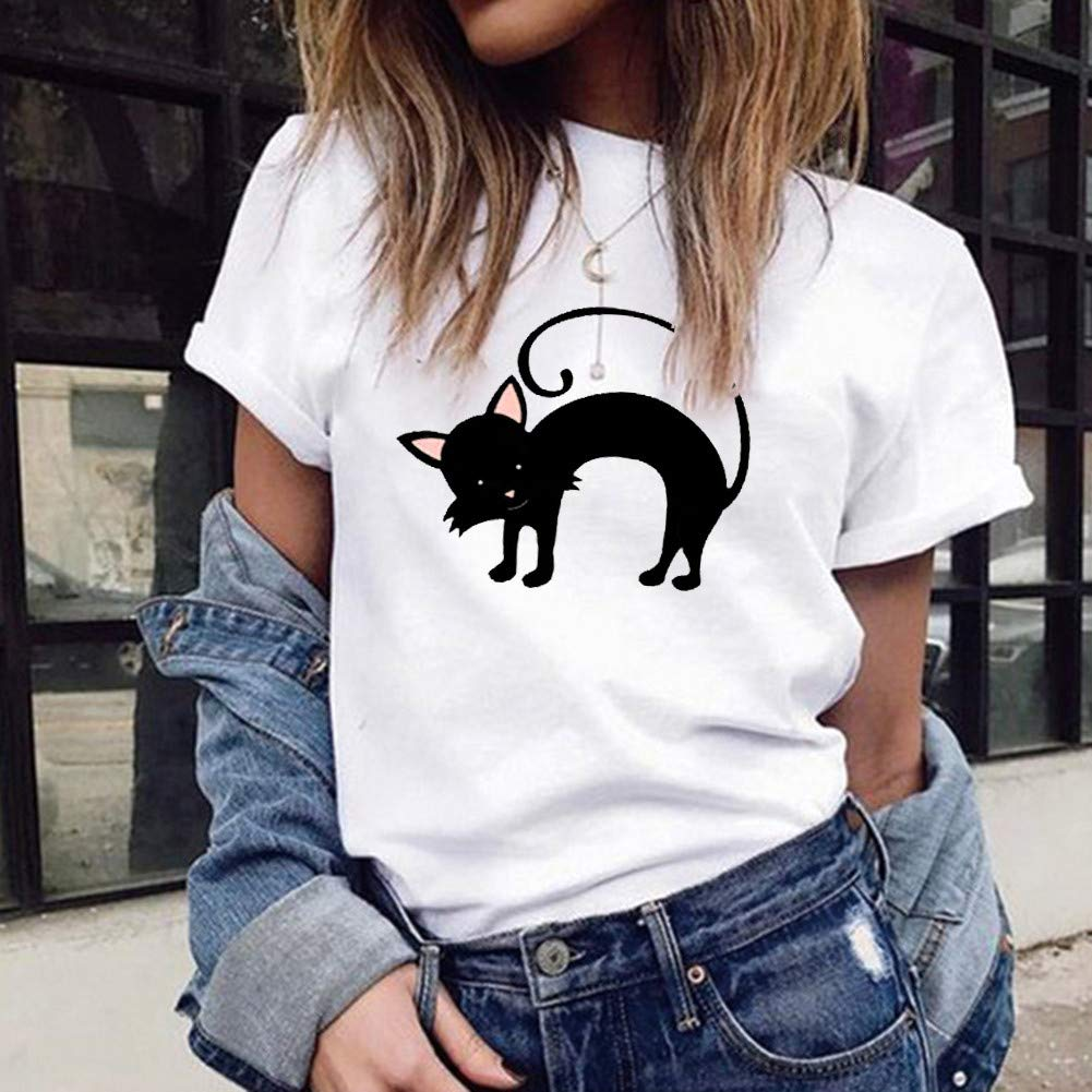 Casual Women Tops Cute Cat Printed Stylish T-Shirt Short Sleeve Blouse Basic Summer Tunic Pullover Tee