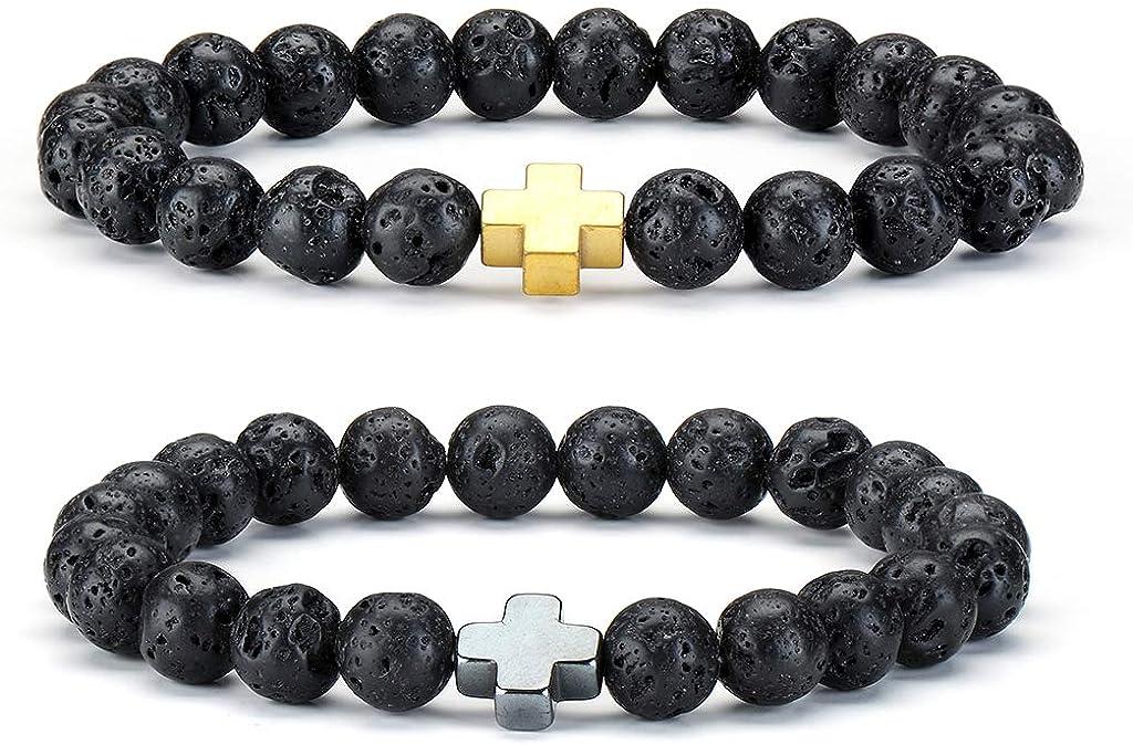 2Pcs Natural Lava Stone Bead Cruz Pulsera Healing Energy Balance Pulsera Elástica para Hombres Mujeres