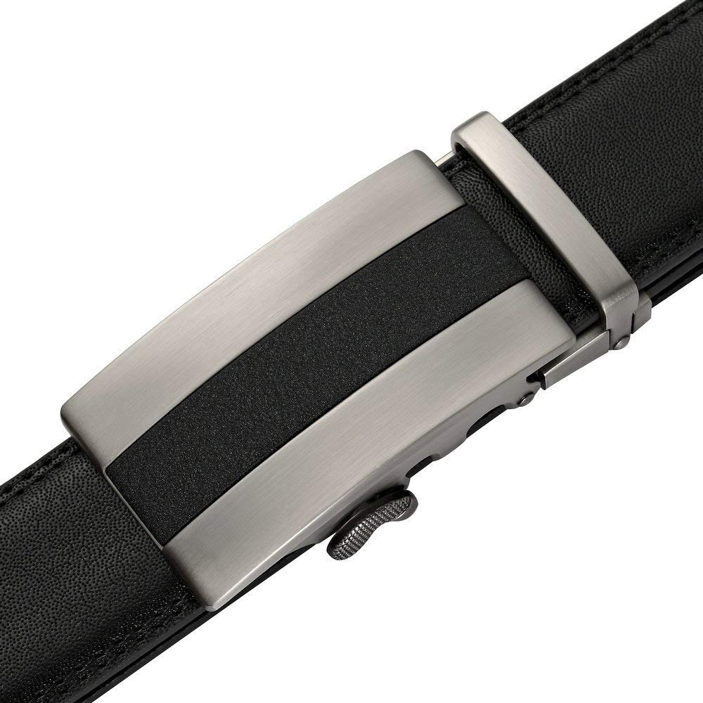 FayTop Mens Solid Buckle with Automatic Ratchet Leather Belt 35mm Wide 110-125CM