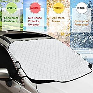 "Car Windshield Snow Cover & Sun Shade Protector, GoldFox Winter Car Windshield Cover for Ice and Snow, Dust Frost Guard Protector, Fit for Most Cars in All Weather (57.87"" x 45.65"")"
