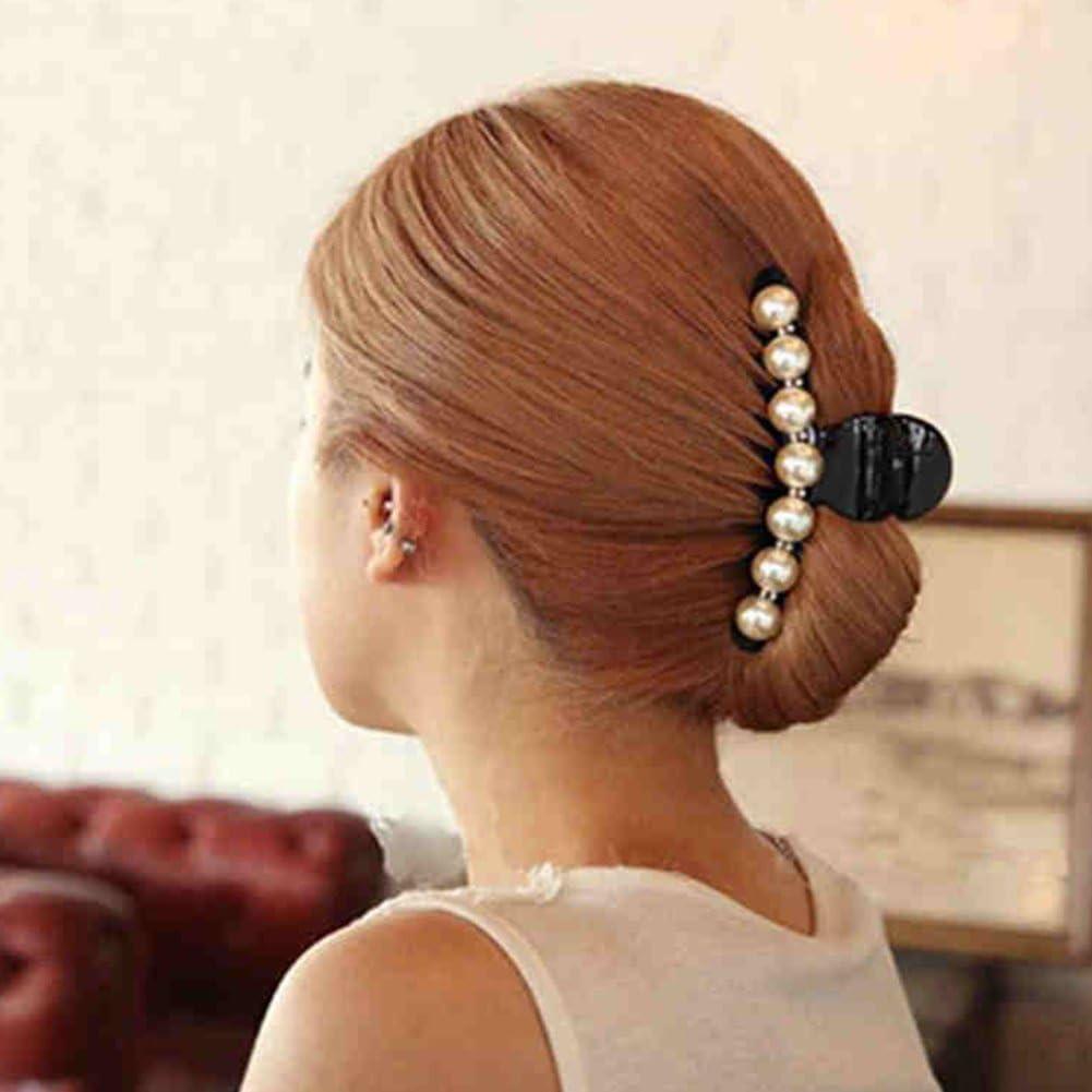 Women Girls Crystal Hair Claw Crab Clamp Barrettes Top Gripper Pearl Hair Clips