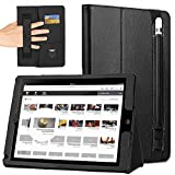COCASES Case for iPad Pro 9.7 2016, iPad 9.7 2017, iPad Air, iPad 6th Gen 2018, PU Leather Flip Stand Smart Cover Auto Sleep/Wake Pencil Holder Hand Strap Card Slot Document Pocket Black 9.7''