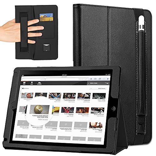 COCASES Case Compatible with iPad Pro 9.7 2016, iPad 9.7 2017, iPad Air, iPad 6th Gen 2018, PU Leather Stand Smart Cover Auto Sleep/Wake Pencil Holder Hand Strap Card Slot Document Pocket Black 9.7''