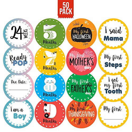 CORRURE 50 pack Baby Monthly Stickers and Pregnancy Set - 17 Belly Bump Week by Week, 12 Months, 12 Milestones and 9 Holidays for Boys and Girls - Save All the Happy Moments or Use as Baby Shower Gift ()
