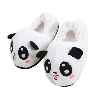 Peak Mall Novelty Lovable Panda Household Soft Plush Antiskid Indoor Home Slippers, Size 4.5 to Size 8