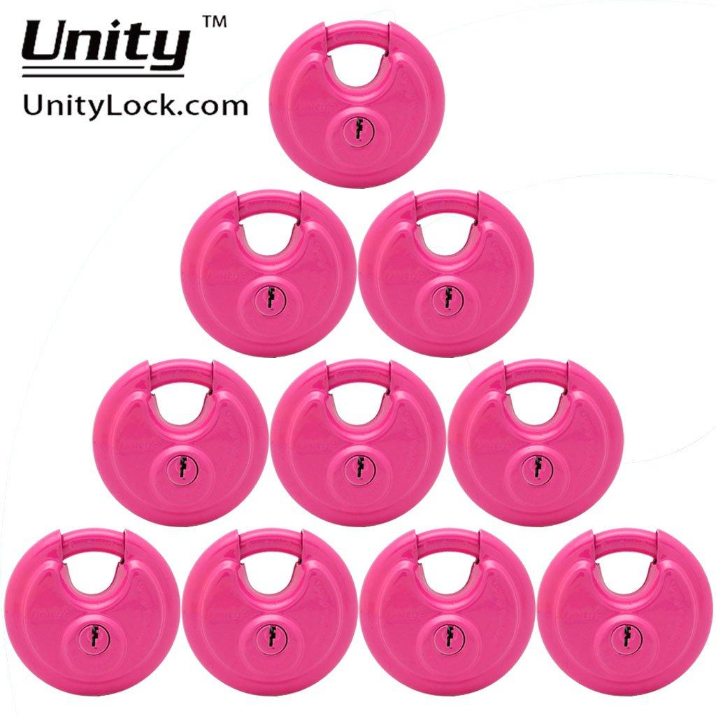 10 Pink KEYED Alike Stainless Steel Disc Padlock 2-3/4'', Self Storage disc Lock #7993x10